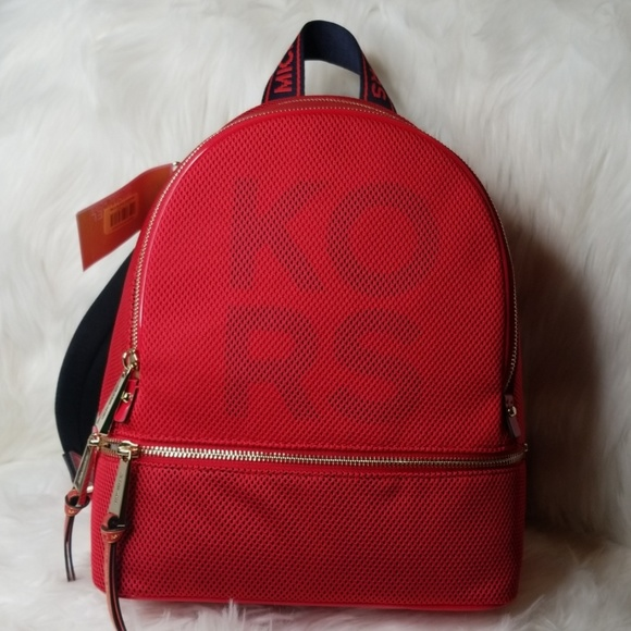 Michael Kors Handbags - NWT MICHAEL KORS RHEA ZIP BRIGHT RED BLUE BACKPACK